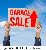 Garage-Sale - Two Hands Holding Brown Cardboard With Garage Sale On Blue Sky Background