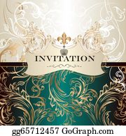 Vintage-Floral-Blue-Frame-Vector - Elegant  Invitation Card In Royal Style