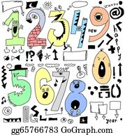 Funny-Bubble-Cartoon-Numbers -  Doodle Funny Cartoon Numbers
