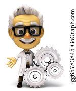 Professor - 3d Professor With A Gear