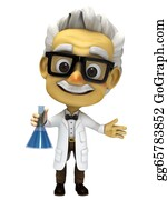 Professor - 3d Cartoon Professor With Lab Glass