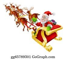 Reindeer-Christmas-Silhouettes - Cartoon Christmas Santa Claus Sled
