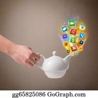Tea-Pot - Tea Pot With Colorful Media Icons