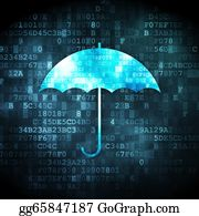 Umbrella - Security Concept: Umbrella On Digital Background