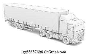 Tractor-Trailer - Sketch White Truck