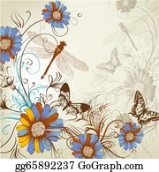Vintage-Floral-Blue-Frame-Vector - Artistic Floral Hand Drawn Background
