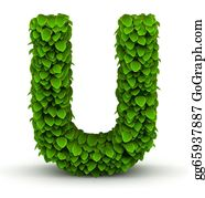 Leaf-And-Oxygen - Leaves Font Letter U