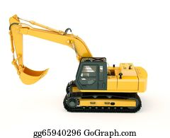 Hydraulic - Excavator Isolated With Light Shadow