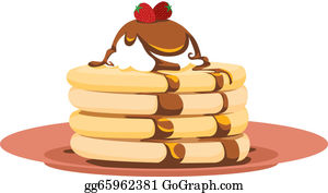 Crepes - Strawberry Pancake Illustration