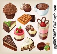 Coffee-With-Creamer - Set Of Chocolate Food