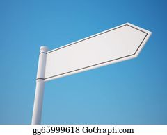 One-Direction-Road-Sign - Blank Signpost With Clipping Path