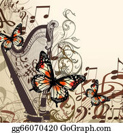 Harp-Music - Vector Background With Harp, Notes And Butterflies