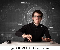 Computer-Nerd - Young Hacker In Futuristic Enviroment Hacking Personal Information On Tech Background