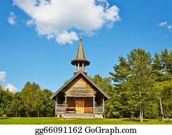 Orthodox - Wooden Orthodox Church In The Wood. Moscow Region, Russia.