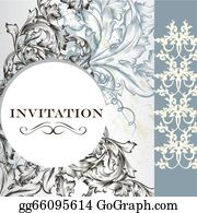 Vintage-Floral-Blue-Frame-Vector - Elegant Invitation Card In Vintage  Style