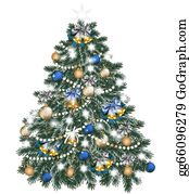 Blue-Bell - Christmas Tree Decorated By Balls On White