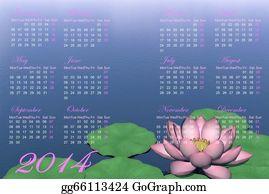 Calendar-For-January-2014 - Zen Calendar For 2014 - 3d Render