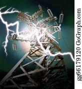 Power-Transmission-Line - Lightning Strike. Crash