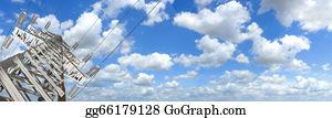 Power-Transmission-Line - Power Tower. Panorama