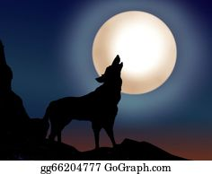 Halloween-Dog - Wolf Howling Over The Full Moon