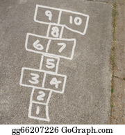 Hopscotch - Hopscotch Game In Chalk On Sidewalk