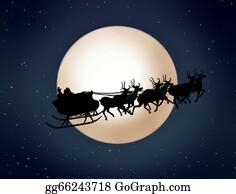 Reindeer-Christmas-Silhouettes - Santa Claus On Sledge With Reindeer