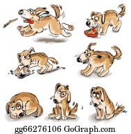 Growl - Set Of Puppy Fun. Freehand Drawing