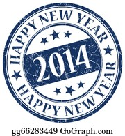 Year-2014 - Happy New Year 2014 Blue Stamp