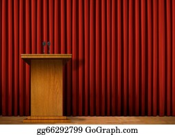 Public-Speaking - Podium On Stage Over Red Curtain