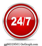 24-Hour - 24/7 Icon
