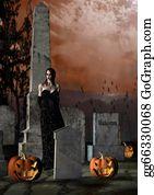 Headstone - Halloween In A Cemetery
