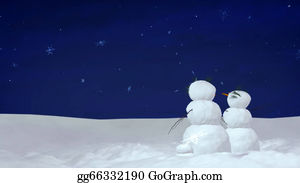 Melting-Snowman - Christmas Snowman Couple At Night