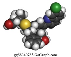Atoms - Montelukast Asthma And Airway Allergy Drug, Chemical Structure.