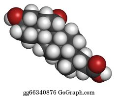 Atoms - Ursodiol (ursodeoxycholic Acid, Udca) Gallstone Treatment Drug, Chemical Structure. Atoms Are Represented As Spheres With Conventional Color Coding: Hydrogen (white), Carbon (grey), Oxygen (red)