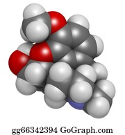 Atoms - Codeine Pain And Cough Relief Drug, Chemical Structure.