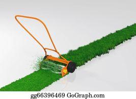 Lawn-Mower - A Push Lawn Mower Is Working
