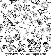 Reindeer-Christmas-Silhouettes - Christmas Seamless Pattern, Contour