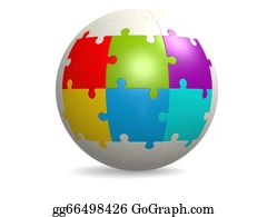 Six-Spheres-Balls-Illustration-With - White Round Puzzle With Six Color