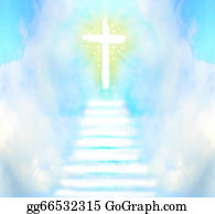 Christ-Is-Risen - Stairway Leads To Cross And Glowing Light