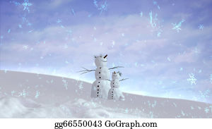 Falling-Snow-Background - Snowman And Son Sky Wide