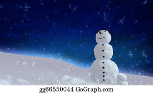 Falling-Snow-Background - Snowman Blue Sky