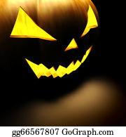 Scary-Pumpkin - 3d Scary Halloween Pumpkin On Black Background