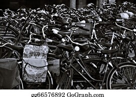 Black-White-Mode - Bicycle Parking In Amsterdam