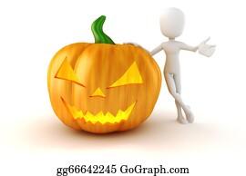 Scary-Pumpkin - 3d Man And Big Scary Halloween Pumpkin