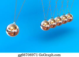 Gravity-Field - Newtons Cradle On A Blue Background