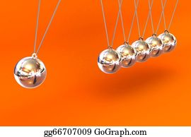 Gravity-Field - Newtons Cradle On A Orange Background