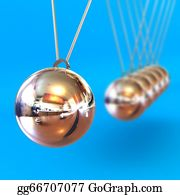 Gravity-Field - Newtons Cradle Against A Blue Background