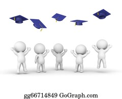 Throwing - 3d Guys Throwing Graduation Hats