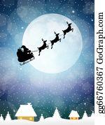 Reindeer-Christmas-Silhouettes - Sleigh Of Santa Claus