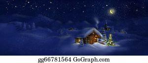 Cabin - Hut,christmas Tree, Light, Panorama